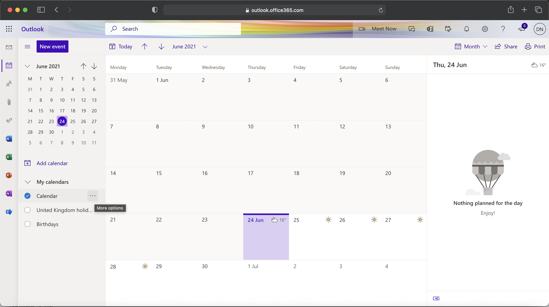 Microsoft 365 - Calendar sharing more options