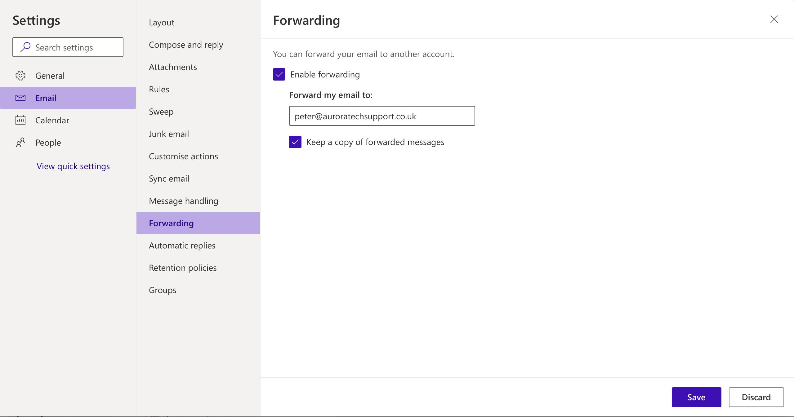 Microsoft 365 - Forwarding settings
