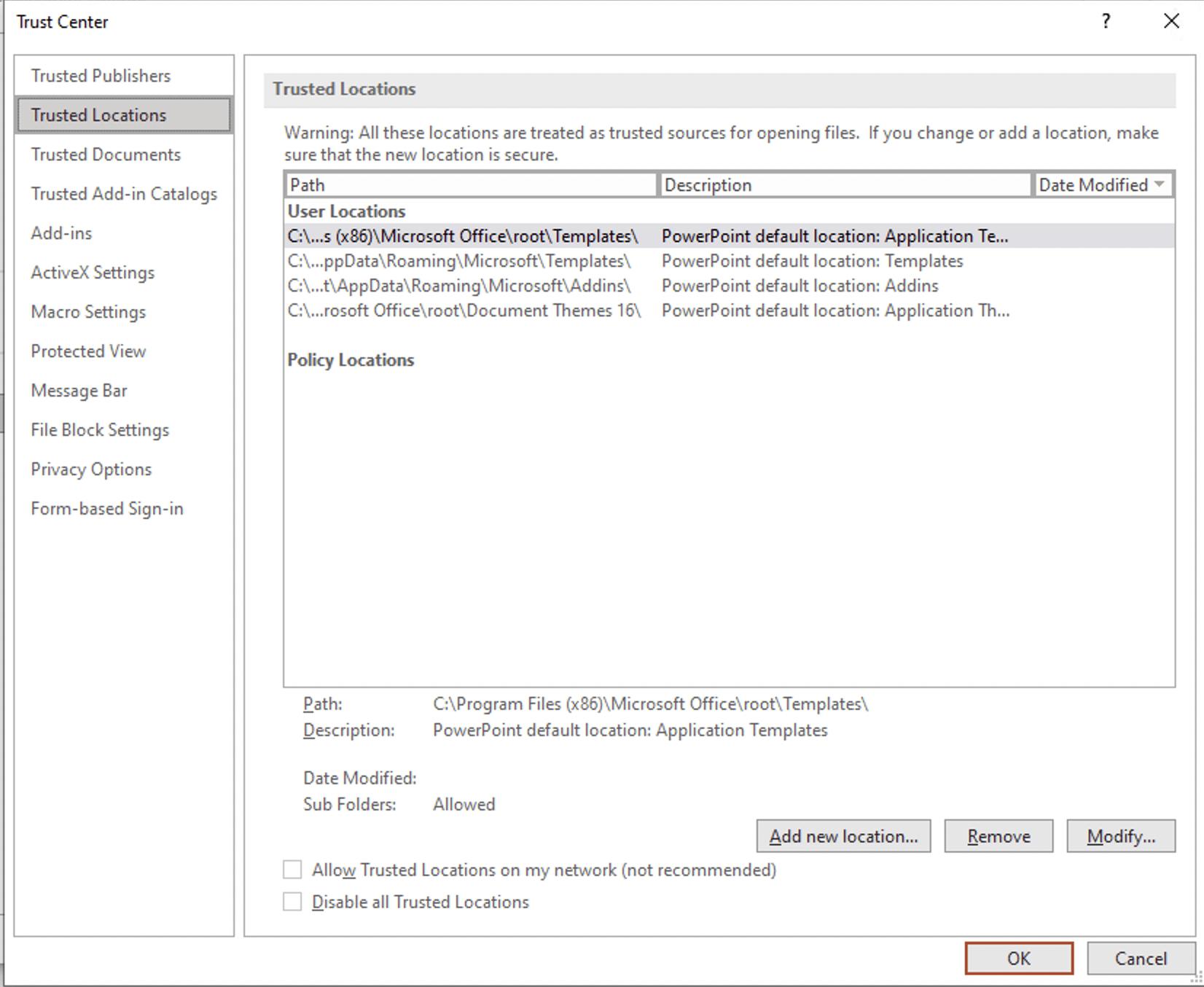 Microsoft 365 - Trust center settings