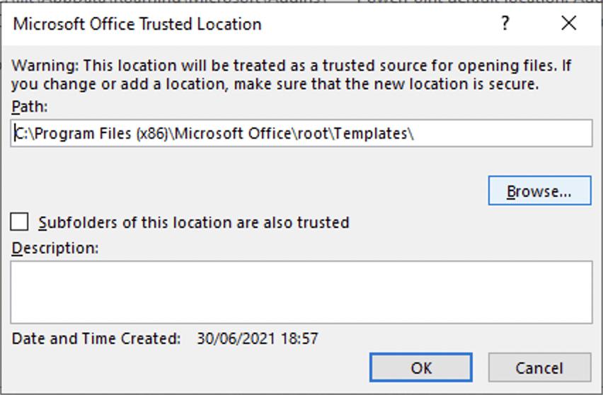 Microsoft 365 - Add network trusted location