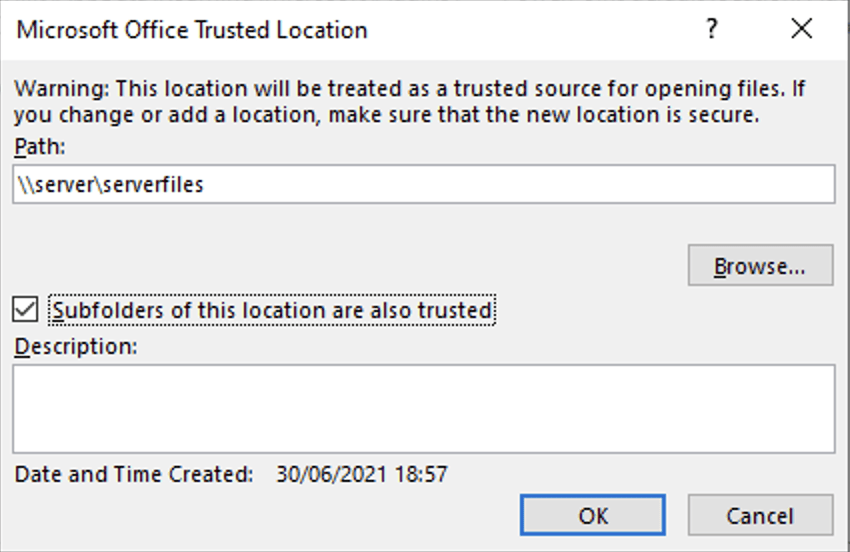 Microsoft 365 - Subfolders of this location are also trusted