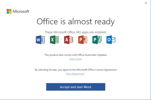 Microsoft 365 - Accept licence