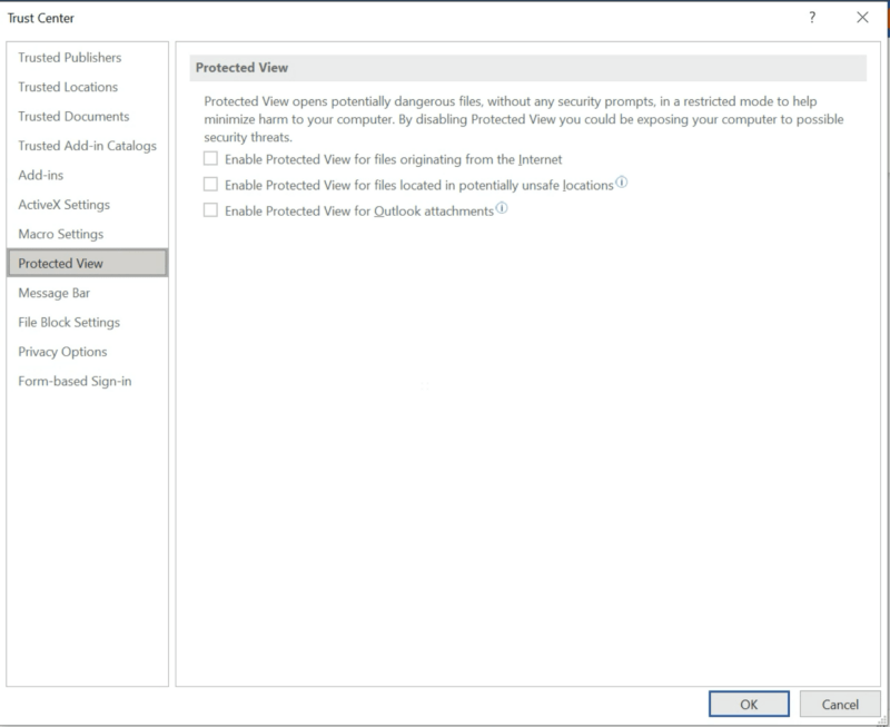 Microsoft 365 - Word protected view